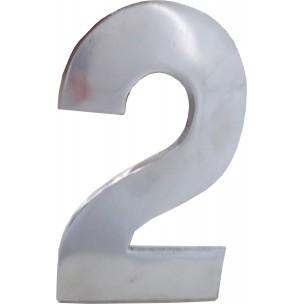 Algarismo Numero 2 Grande 25x15 cm Aço Prata - Splendore