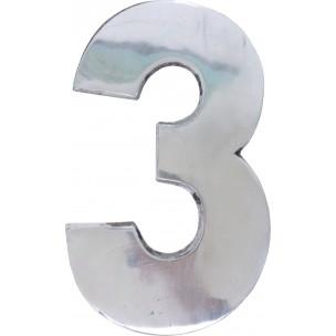 Algarismo Numero 3 Grande 25x15 cm Aço Prata - Splendore