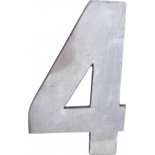 Algarismo Numero 4 Grande 25x15 cm Aço Prata - Splendore