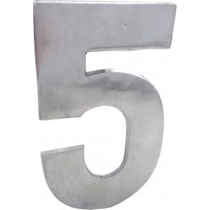 Algarismo Numero 5 Grande 25x15 cm Aço Prata - Splendore