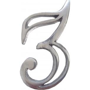 Algarismo Numero 3 Pequeno Vazado Aço Prata - Splendore