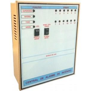 Central de Alarme de Incêndio 12 Setores 24V sem Bateria - Eanes