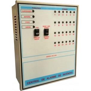 Central de Alarme de Incêndio 24 Setores 24V sem Bateria