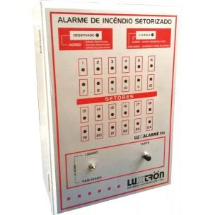 Central de Alarme de Incêndio 24 Setores 12V com Bateria Interna - Luxtron