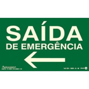 Placa Saída de Emergencia para Esquerda 20x15 - Encart