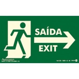 Placa Saída de Emergencia para Direita Bilingue 25x15 - Encart