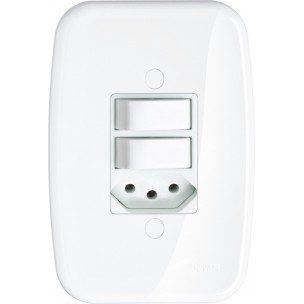 2 Interruptores Simples + Tomada 10A Padrão Brasileiro Claris