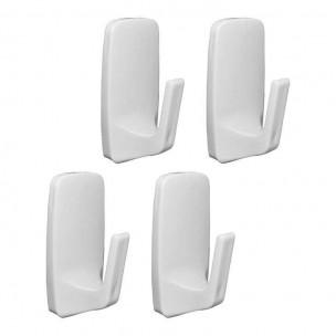 Cabide Adesivo Removível Pequeno Branco 4 Peças - Astra