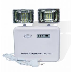 Iluminação de Emergência LED 1200 Lumens 2 Faróis Segurimax