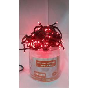 Cordão Luminoso com 100 LEDs Estáticos 127V Vermelho - Life Led