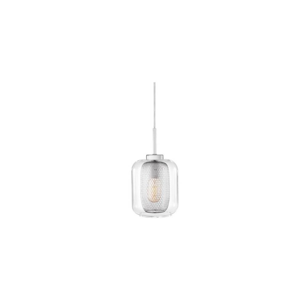 Pendente Em Vidro Transparente em Metal Cromado - Mart