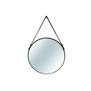Espelho Industrial Redondo em Metal de Parede Preto - Mart